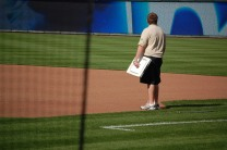 """""""Plugging The Bases In"""" (Photo: Steve Contursi, Reflections On Baseball)"""